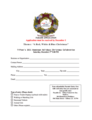 Application must be received by December 1 Theme ... - City of Tifton