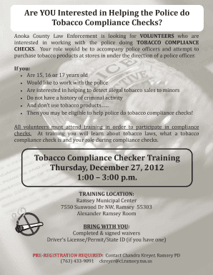 Fillable Online Tobacco compliance checks - City of Ramsey