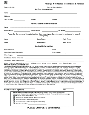 Medical Information and Release Form - Georgia 4-H