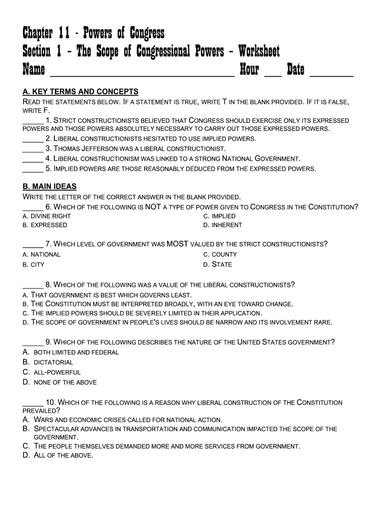 Chapter 25 - Powers of Congress Section 25 - The Scope of Throughout Powers Of Congress Worksheet