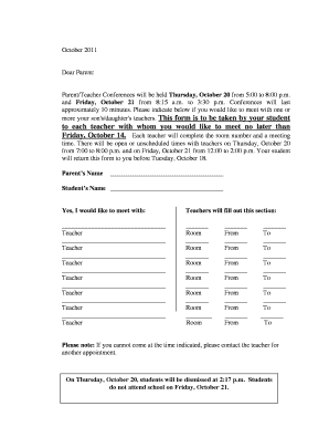 parent teacher conference google form template