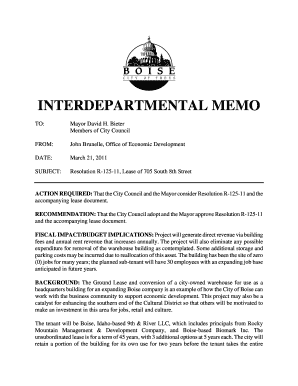 fillable online cityofboise interdepartmental memo the city of an interdepartmental memo
