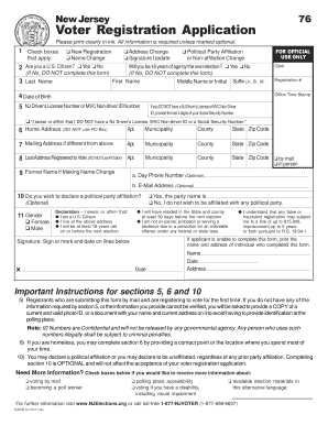 Bill Of Sale Form Voter Registration Application - State Of New ...