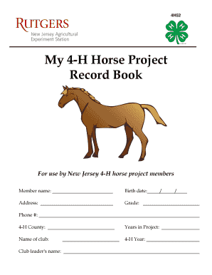 Fillable Online co hunterdon nj My 4-H Horse Project Record Book ...