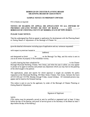 fillable online sample public hearing notice borough of