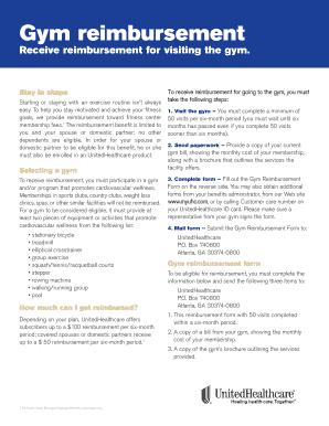 Fillable Online UHC Gym Reimbursement Form - RoseNet Fax Email ...