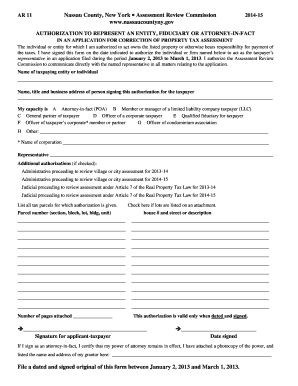 Fillable Online nassaucountyny Form AR 11 - Nassau County Fax ...