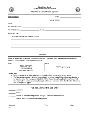 Fillable Online FOIL Request Form - City of Long Beach Fax Email ...