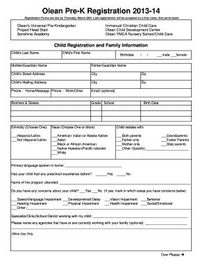 blank school forms for registration fill online printable