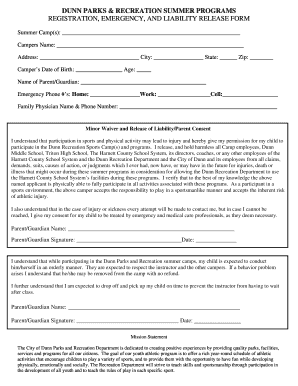 Summer Camp Registration/Liability Form - Dunn, NC - dunn-nc