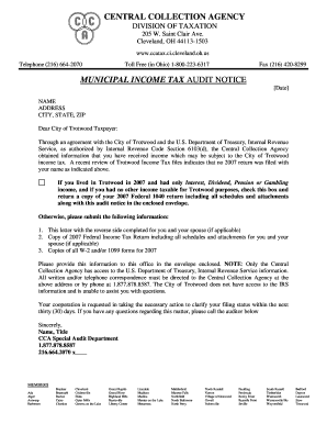 CCA Sample IRS Audit Letter (PDF)   City Of Trotwood