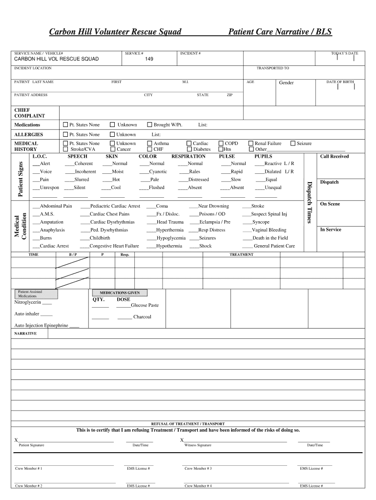 Patient Care Report Template - Fill Online, Printable