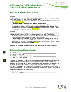 Fillable Online UMR HW Biometric Screening Results Form.doc Fax ...