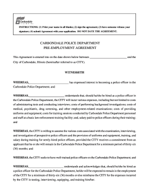 pre employment agreement sample form