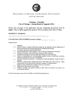 Variation Checklist City of Chicago Zoning Board of Appeals (ZBA) - cityofchicago