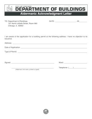 aldermanic acknowledgement letter chicago il fill online