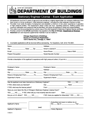 City of chicago stationary engineers license application fillable form