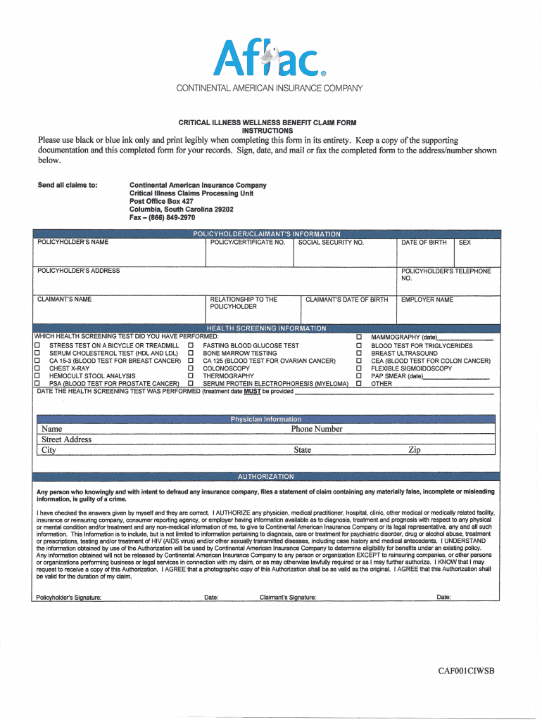 Forms For Aflac Critical Illness Fill Online Printable