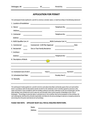 Building Permit Application - City of Sheboygan