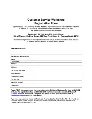 Customer Service Workshop Registration Form - Jackson Alabama ... - jacksonalabama