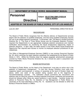 Fillable Online bpw lacity Personnel Directive - City of Los