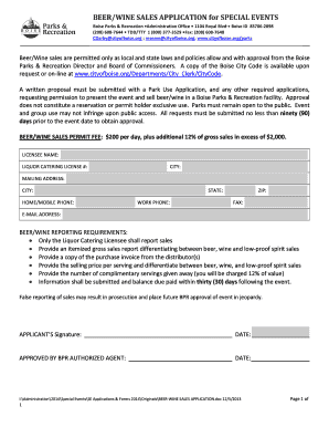 BEER/WINE SALES APPLICATION For COMMUNITY EVENT  Free Sales Proposal Template
