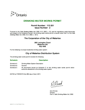 ontario safe drinking water act regulations - Edit & Fill Out Online
