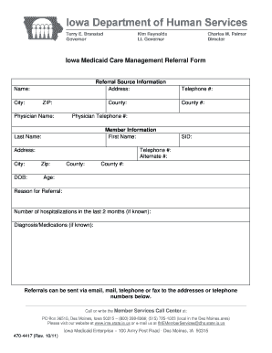 Fillable Online ime state ia Care Management Referral Form 470 ...