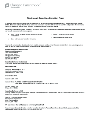 Stocks and Securities Donation Form - Planned Parenthood - plannedparenthood