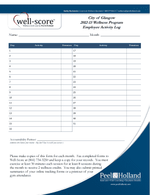 City of Glasgow 2012-13 Wellness Program Employee Activity Log