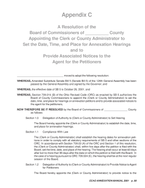Appendix C A Resolution of the Board of Commissioners of County Appointing the Clerk or County Administrator to Set the Date, Time, and Place for Annexation Hearings and to Provide Associated Notices to the Agent for the Petitioners moved