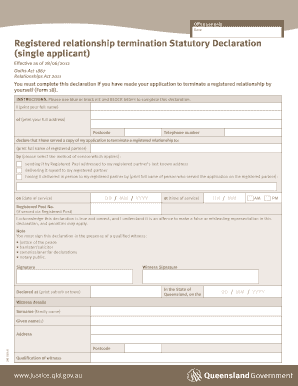 Registered relationship termination Statutory Declaration