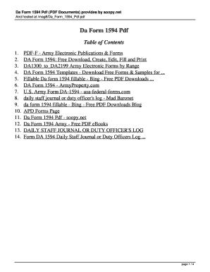 Da Form 1594 Templates - Fillable & Printable Samples for PDF ...