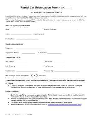 Rental Car Reservation Form - Wichita State University