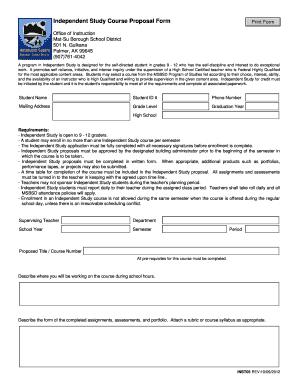 independent study course proposal form matanuska susitna bb