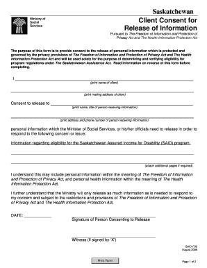 Fillable Online qp gov sk Saskatchewan Client Consent for Release of