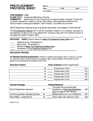 Fillable Online ceo lacounty PRE-PLACEMENT PROTOCOL SHEET