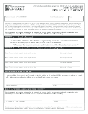 ferpa form financial aid  Fillable Online FERPA FORM revised 11-11docx Fax Email Print ...
