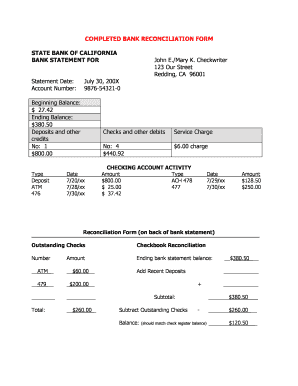 fillable online da co shasta ca completed bank reconciliation form