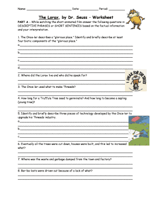 The Lorax By Dr Seuss Worksheet Answers Key Fill Online