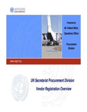 Fillable Online UN Secretariat Procurement Division Vendor