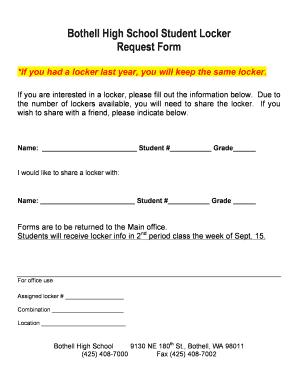 Fillable online wwwnew nsd locker request form northshore school fill online altavistaventures Image collections