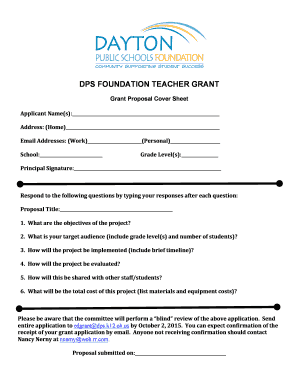 Fillable Online DPSF Tchr Grant Prop Cover Sheetdocx Fax