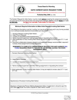 Fillable Online elpaso ttuhsc Safe Harbor Quick Request Form ...