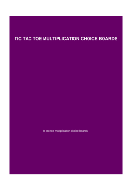 Tic tac toe multiplication choice boards