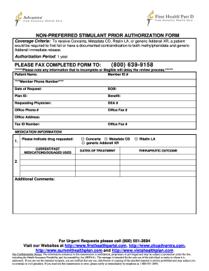 Submit prior authorization adderall PDF Forms and Document Samples