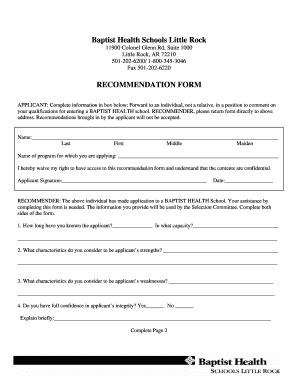 Fillable Online Baptist Health Schools Little Rock Fax Email Print