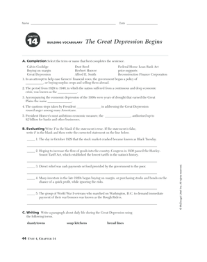 Chapter 14 The Great Depression Begins Building Vocabulary - Fill ...