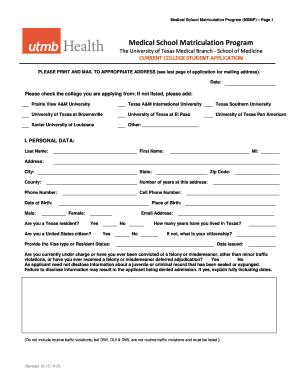 Medical School Matriculation Program Fill Online, Printable