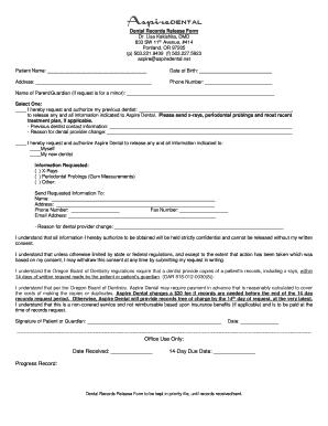 Dental Records Release Form   Weo1com